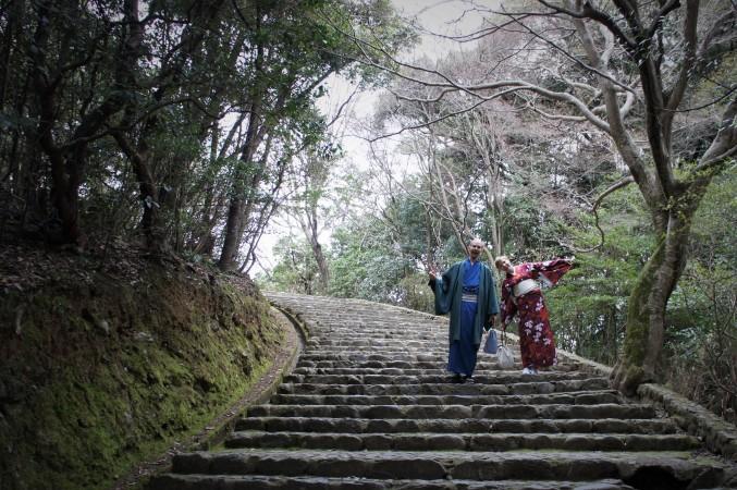 Japanissa kävimme kiotolaisessa linnassa ja puimme yllemme kimonot.